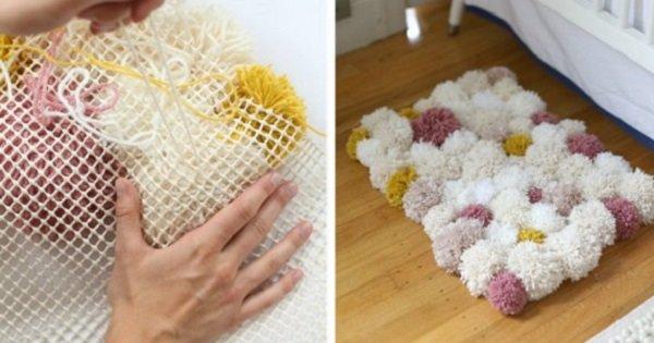 Очаровательный коврик из мягких помпонов. Именно так выглядит домашний уют…