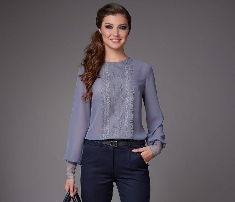 шифоновая блузка с кружевом