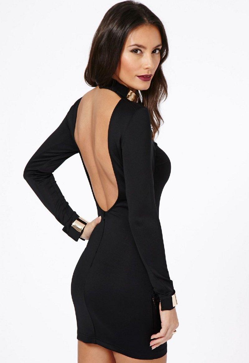 Черное платье короткое с открытой спиной