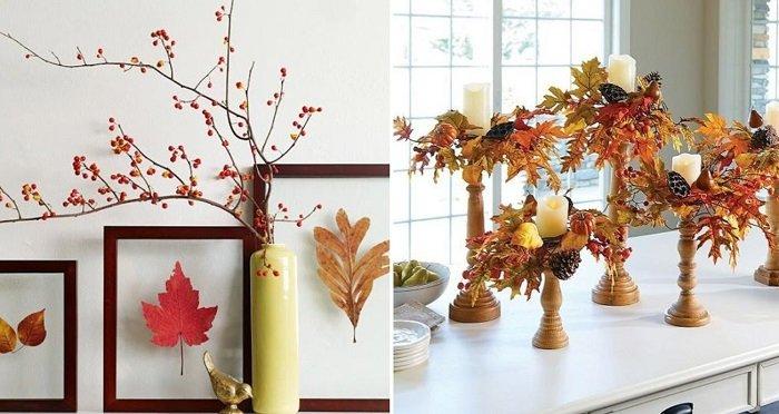 декор для дома из листьев