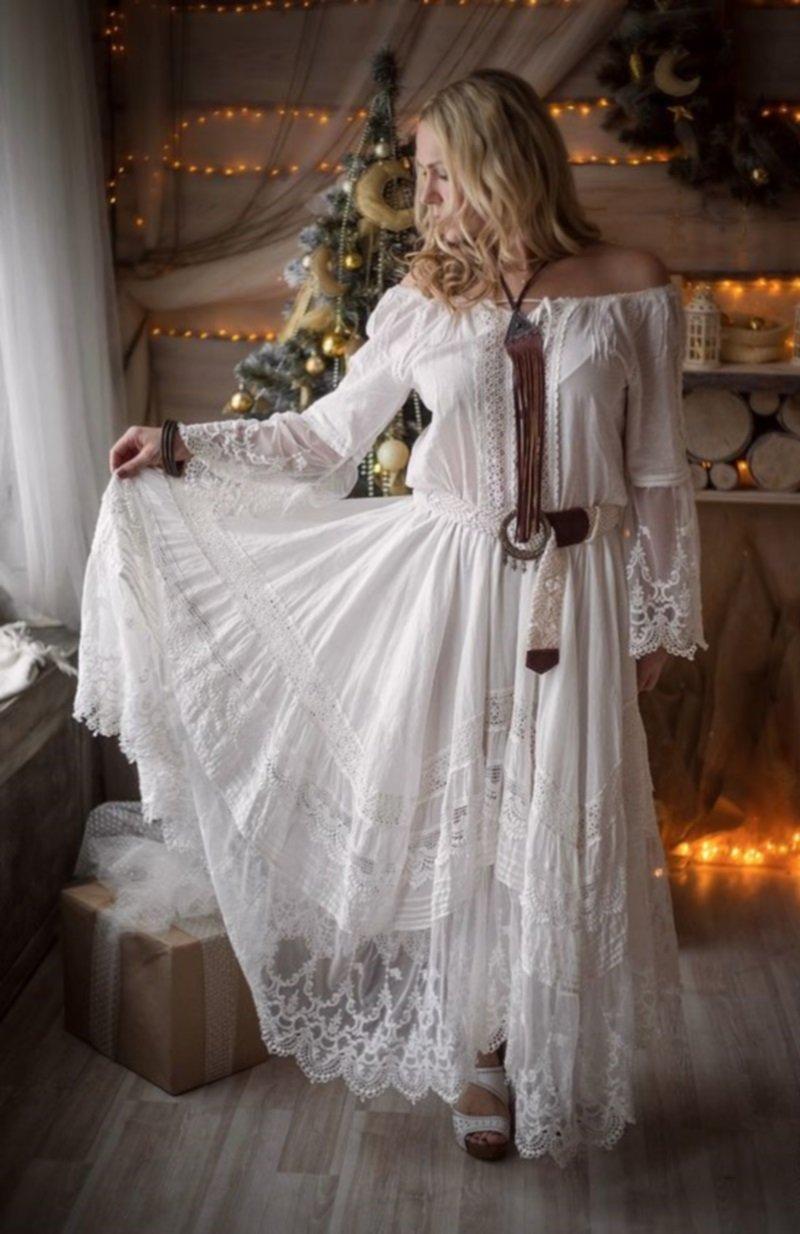 длинное свадебное платье в стиле бохо