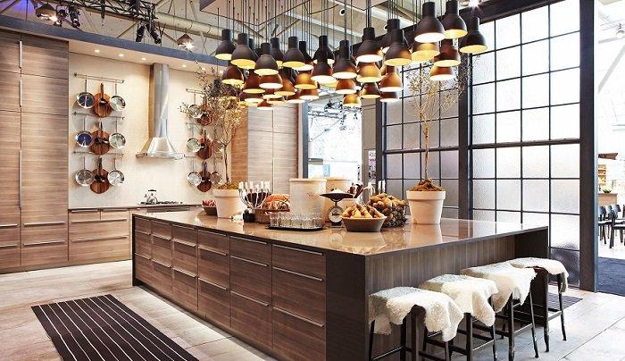 красивый интерьер кухни-гостинной