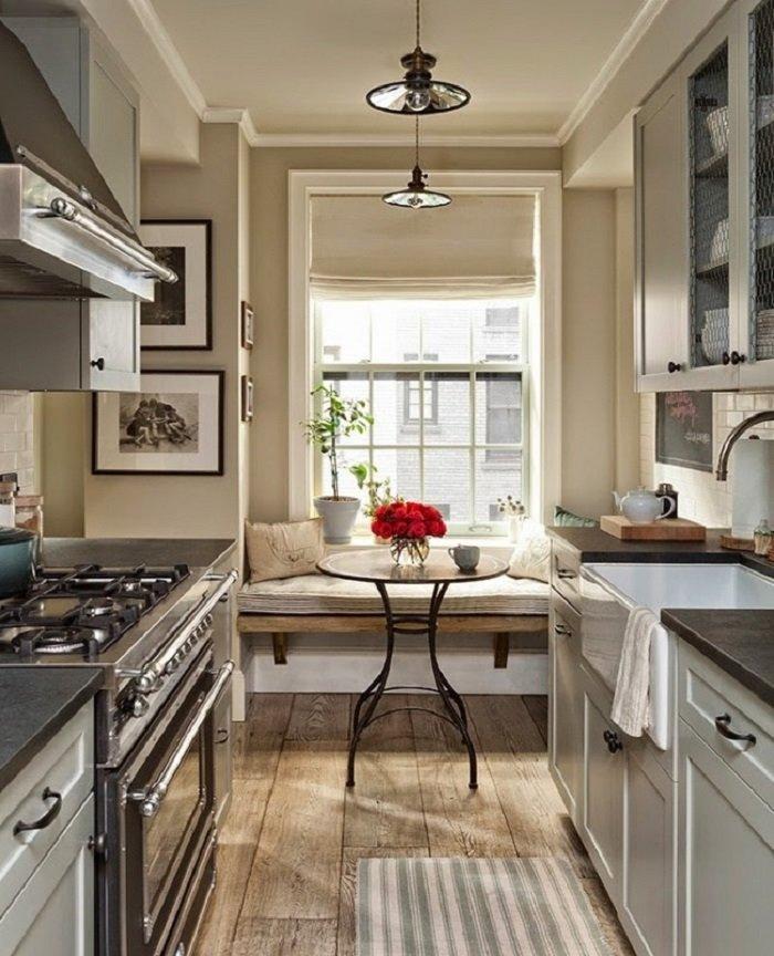 красивый интерьер кухни студии