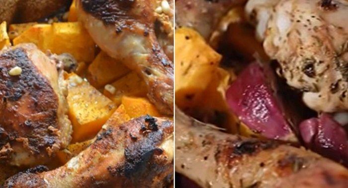 как запечь курицу с овощами в духовке