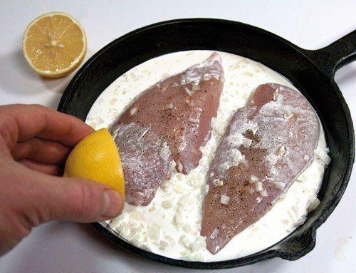 mäso so smotanou a citrónom