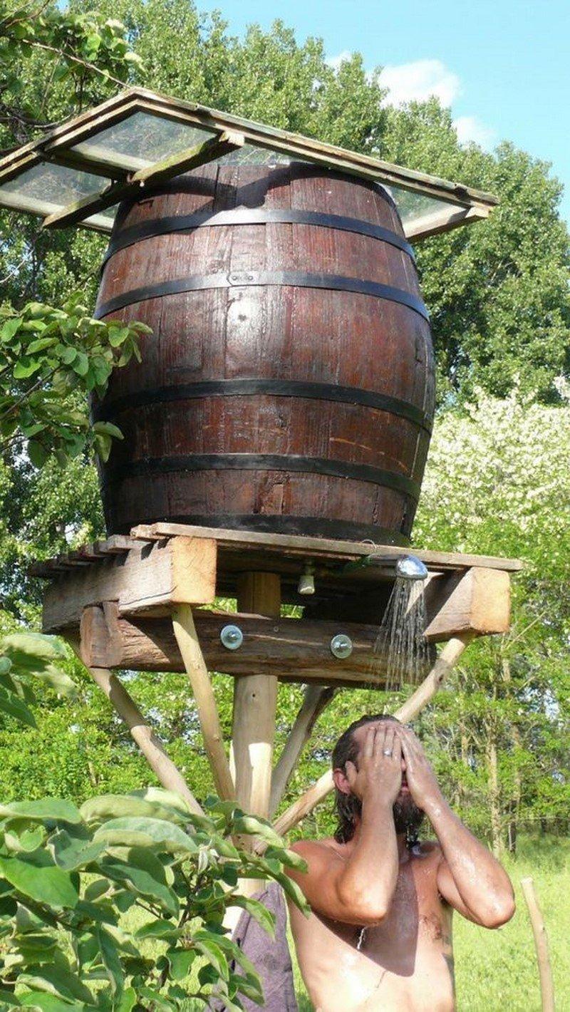 летний душ на дровах