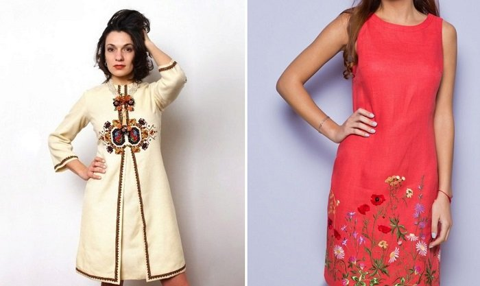льняные платья в русском стиле