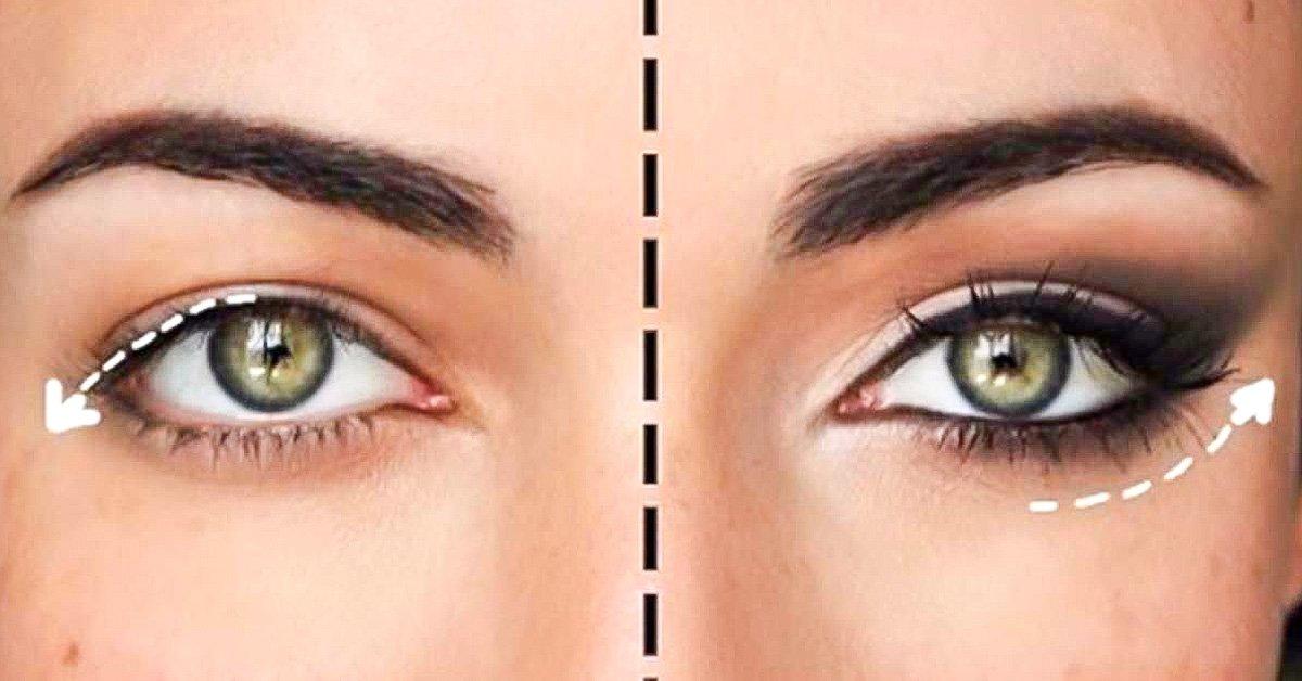 Макияж для зеленых глаз и опущенных век