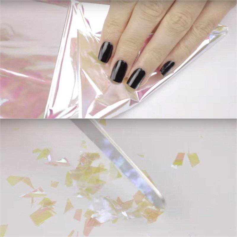 как сделать маникюр битое стекло
