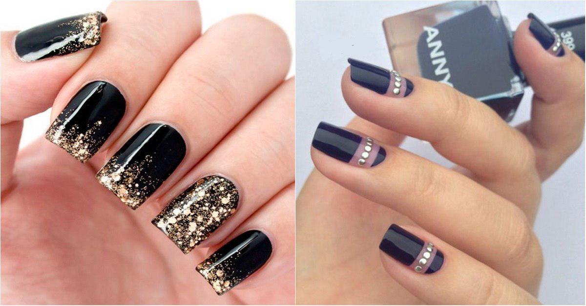 Покрытие ногтей черным цветом