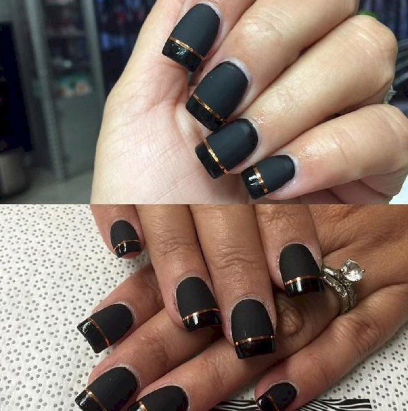 рисунок на глянцевых ногтях матовый
