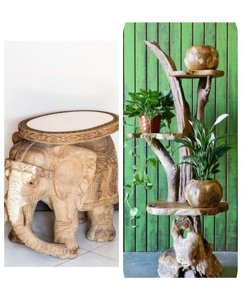 деревянный стол слон