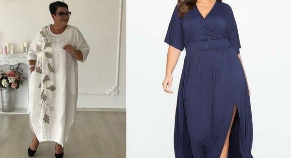 модели платьев для полных женщин из трикотажа