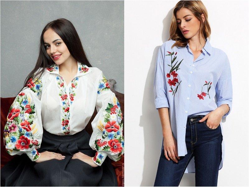 модная одежда с вышивкой