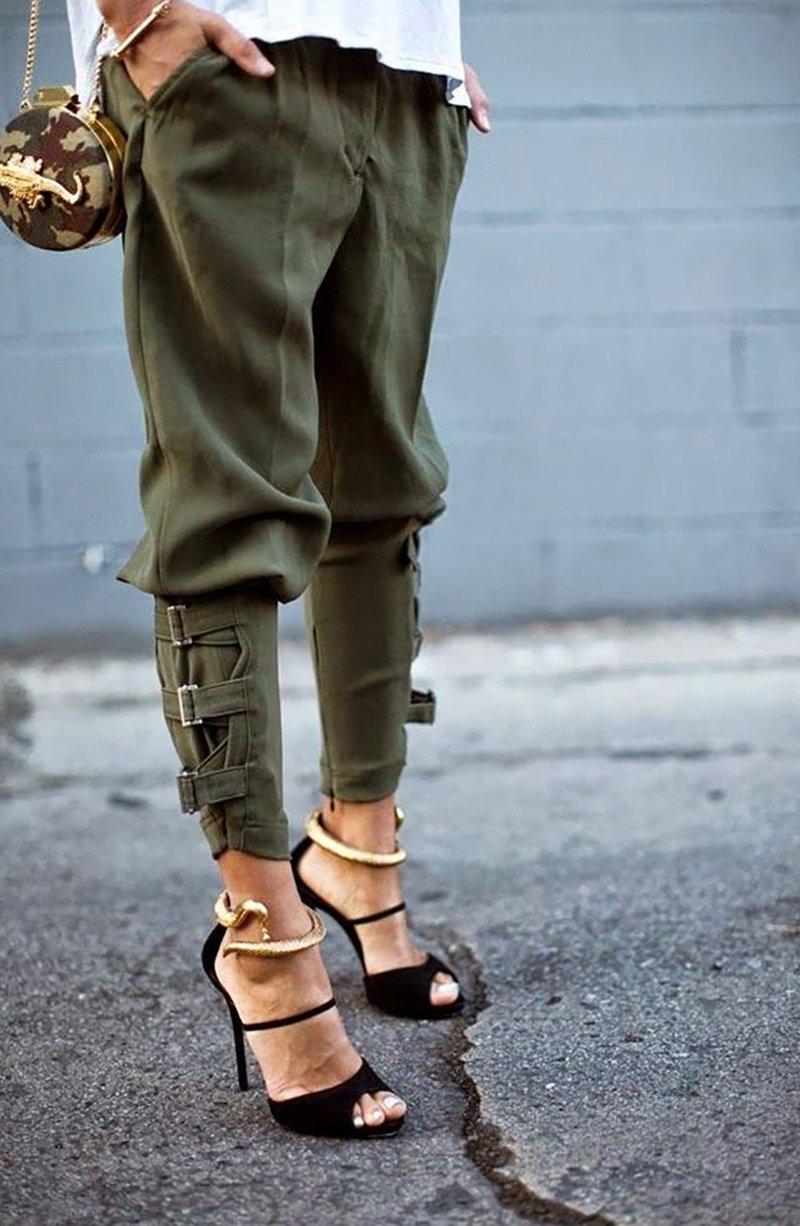 Штаны милитари женские с чем носить