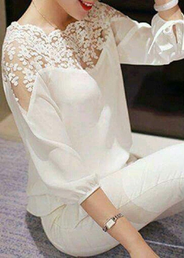 Модные белые блузки