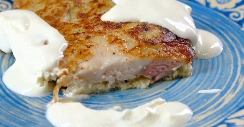 мясо запеченное с картошкой грибами и сыром