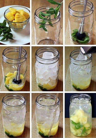 вода с ананасом и мятой