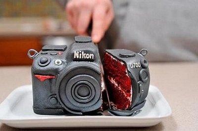 торт в виде фотоаппарата