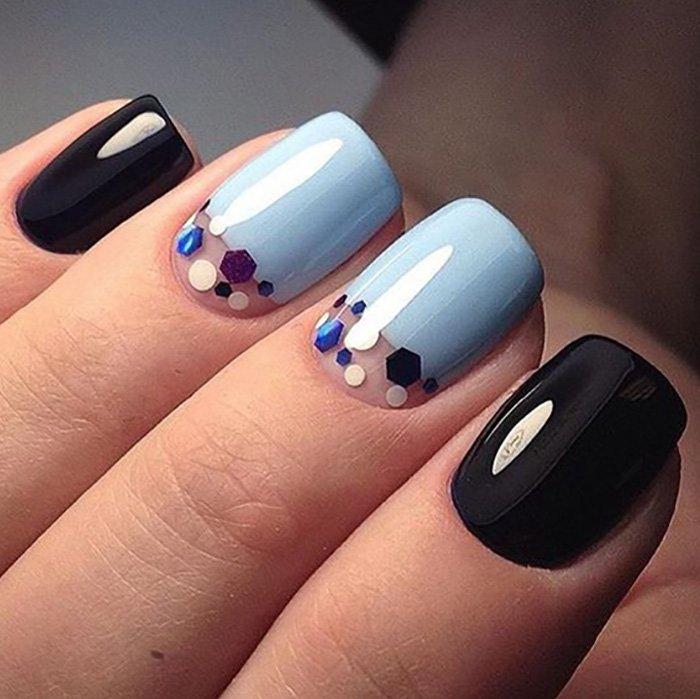 дизайн ногтей гель лаком с блестками