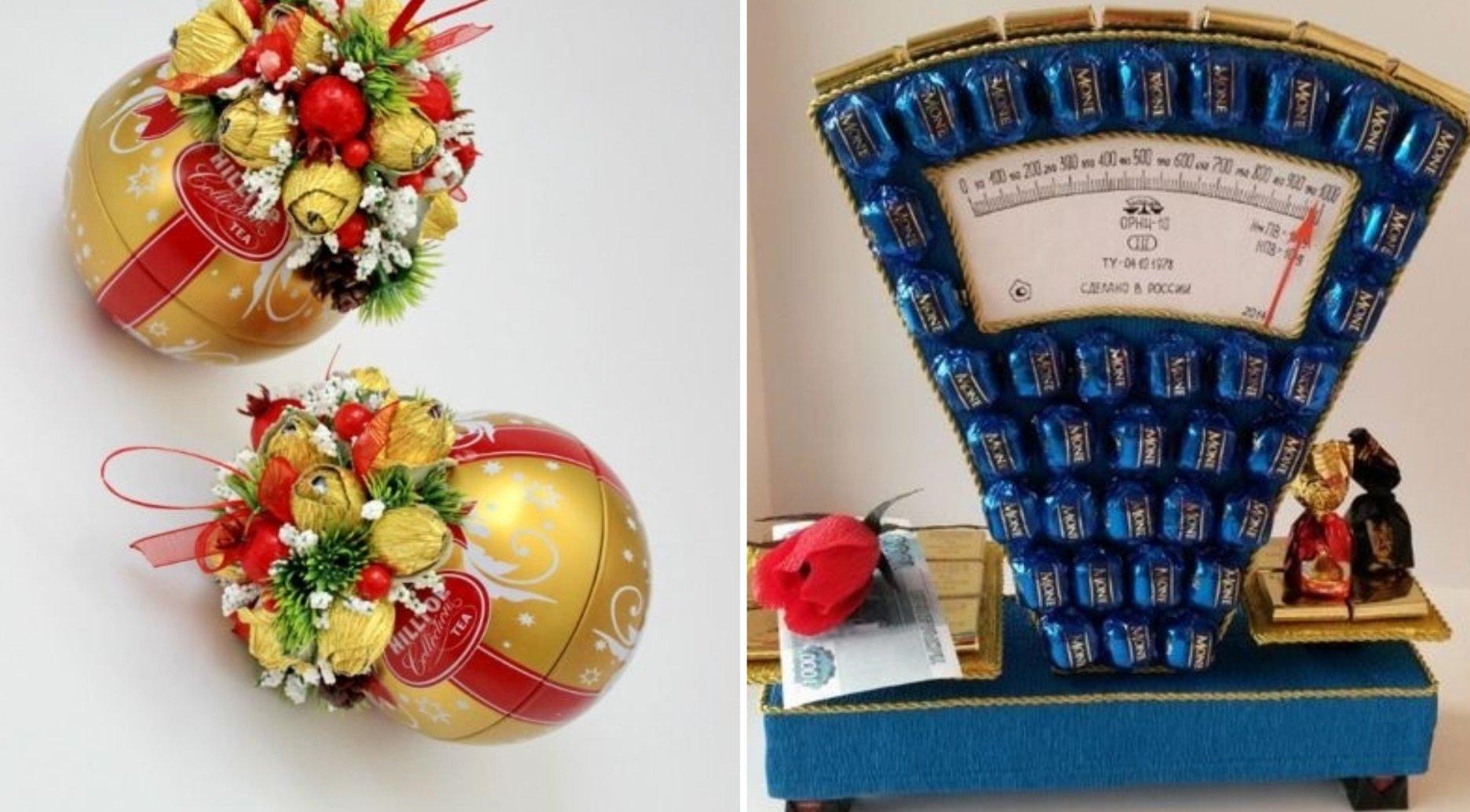 подарки из конфет и бутылки
