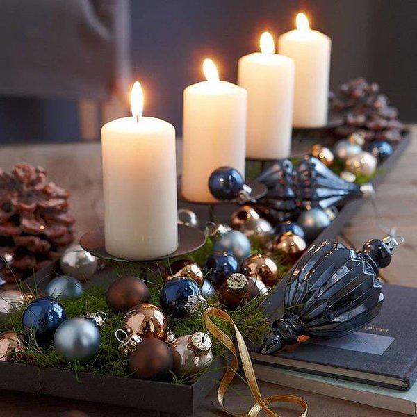 декор свечей в бокале