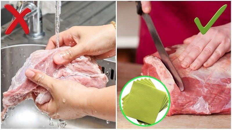 мыть мясо