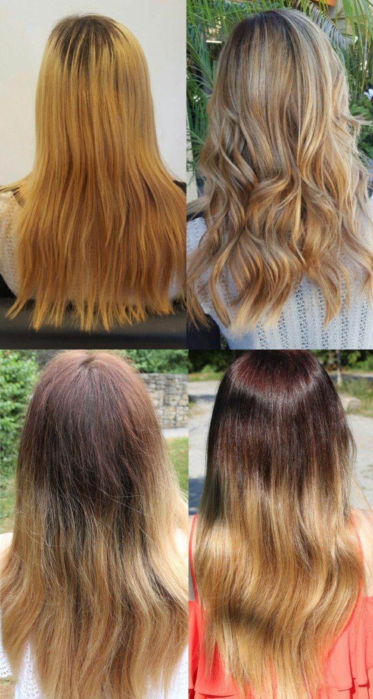 сильно отросшие корни волос
