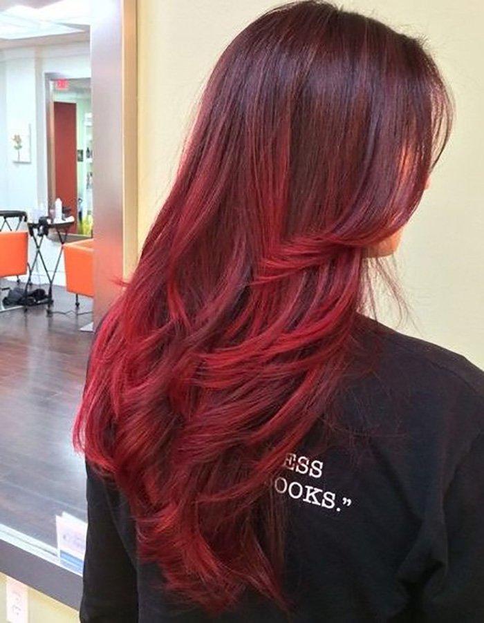 окрашивание волос омбре с челкой