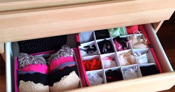 Как сделать удобный органайзер для нижнего белья своими руками. Наведи порядок в шкафу!