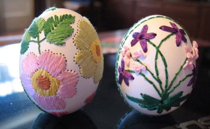 техника вышивки на яичной скорлупе