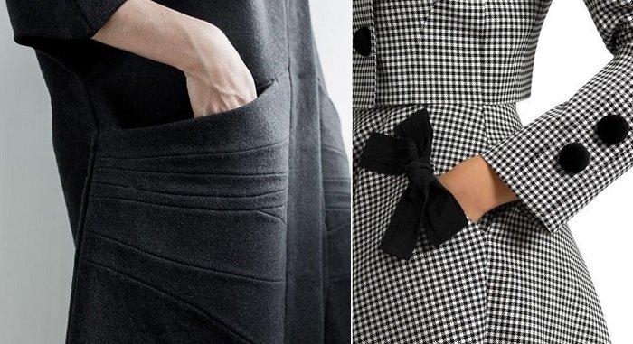 модные карманы на платье