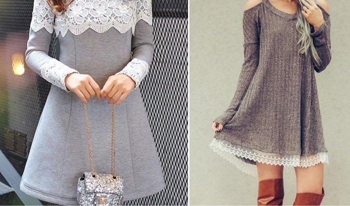 платья с кружевом и шифоном