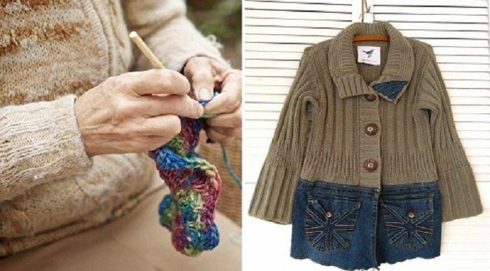 джинсовая ткань и свитер