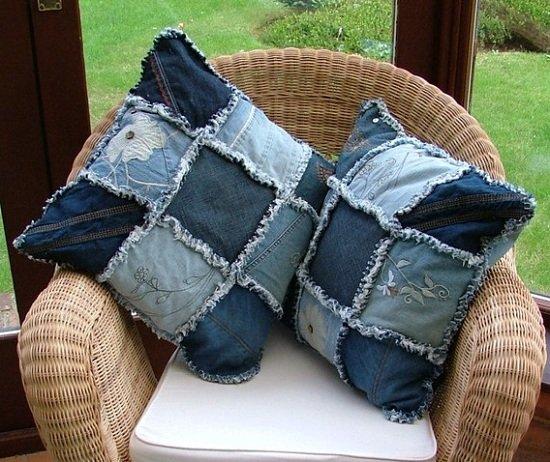 джинсовая подушка