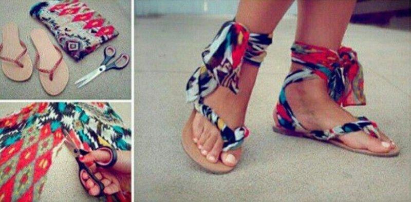 сандалии из веревки