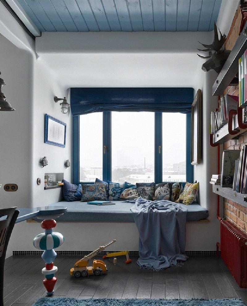 синий интерьер