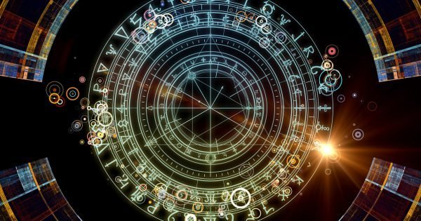 Background design of fractal elements, sacred symbols and circles on the subject of mysticism, occult, astrology and spirituality. Sacred circles series.