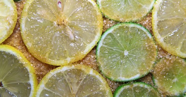 view on slices of limes and lemons mixed with cane sugar placed flat on the ground
