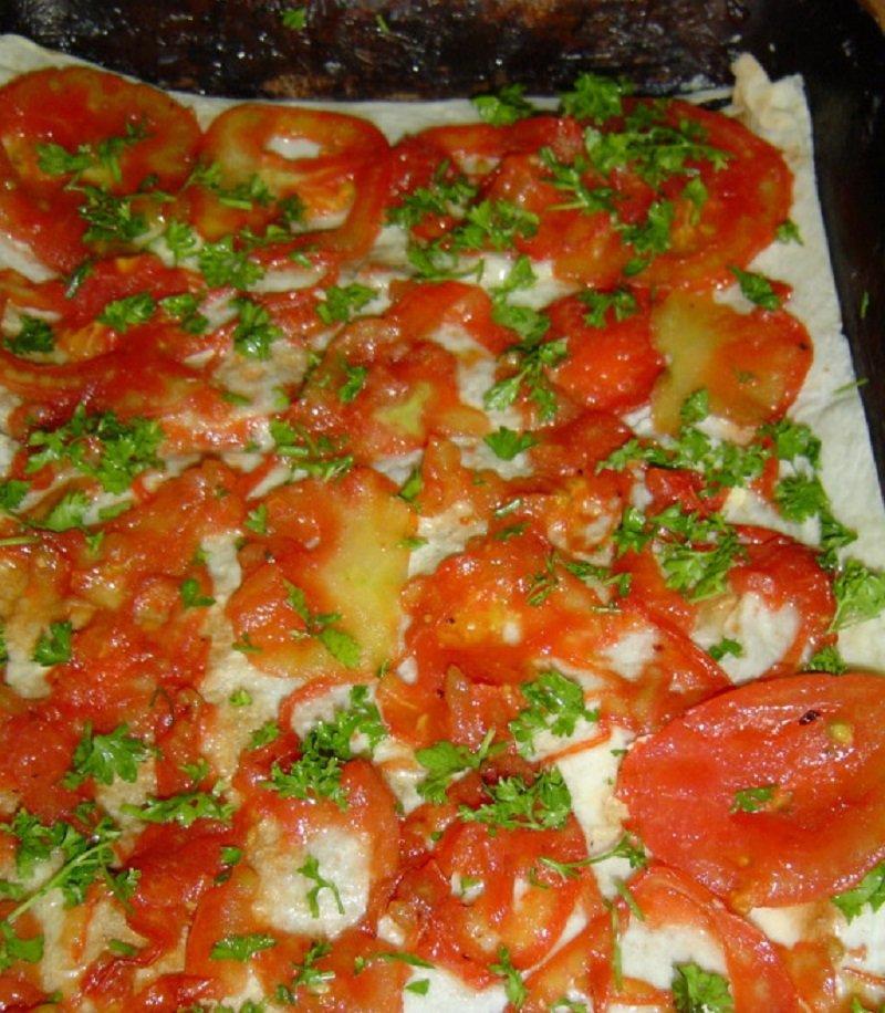 пирог из лаваша с овощами