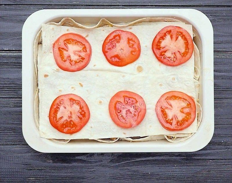 быстрый пирог из лаваша с мясом