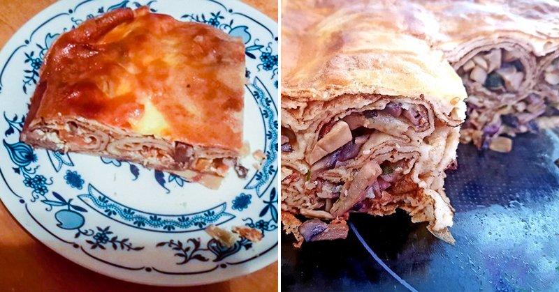 Как приготовить пирог из блинов Кулинария,Блины,Грибы,Лук,Начинки,Пироги