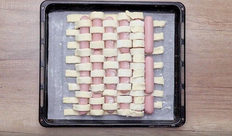 пирог в духовке с сосисками