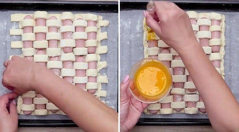 пирог с сосисками из готового теста