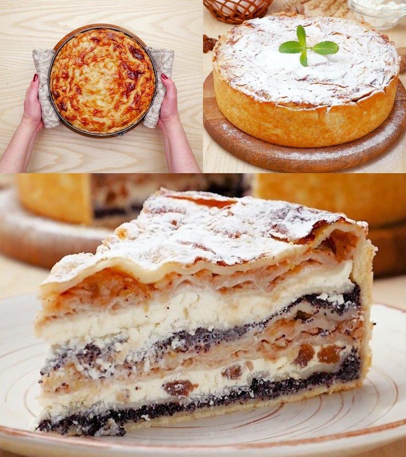 сладкий пирог с творогом в духовке
