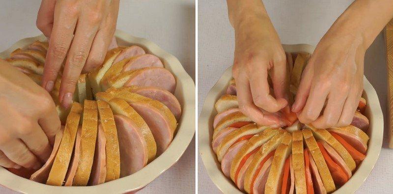 пирог из батона с ветчиной и помидорами