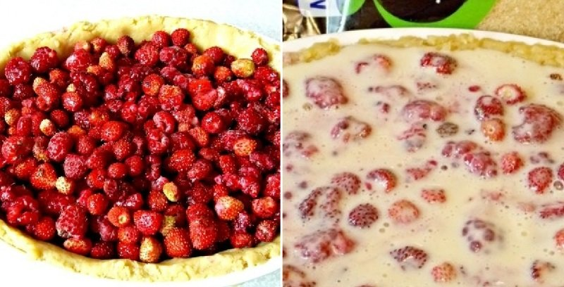 пирог с ягодами заливной сметаной
