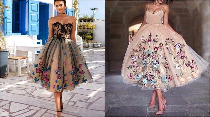 платья с вышивкой на сетке