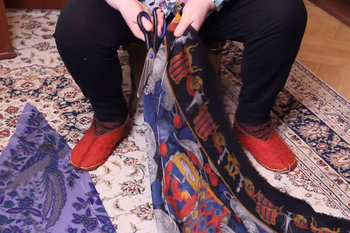 Как у пенсионерки Ольги Папсуевой получаются красивые платья из старых ненужных платков Советы,Лайфхаки,Платья,Хобби,Шитье