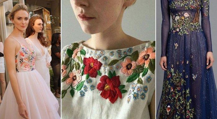 платья с сеткой и вышивкой